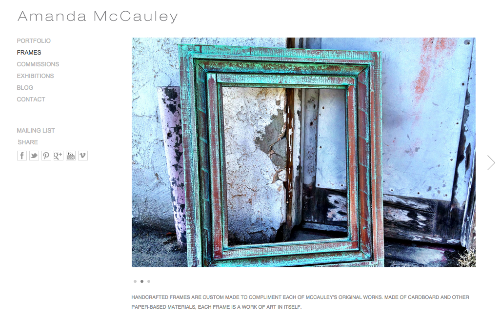 Amanda McCauley website frames